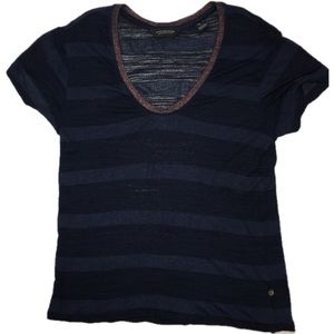 Scotch and soda navy striped t shirt metallic neck